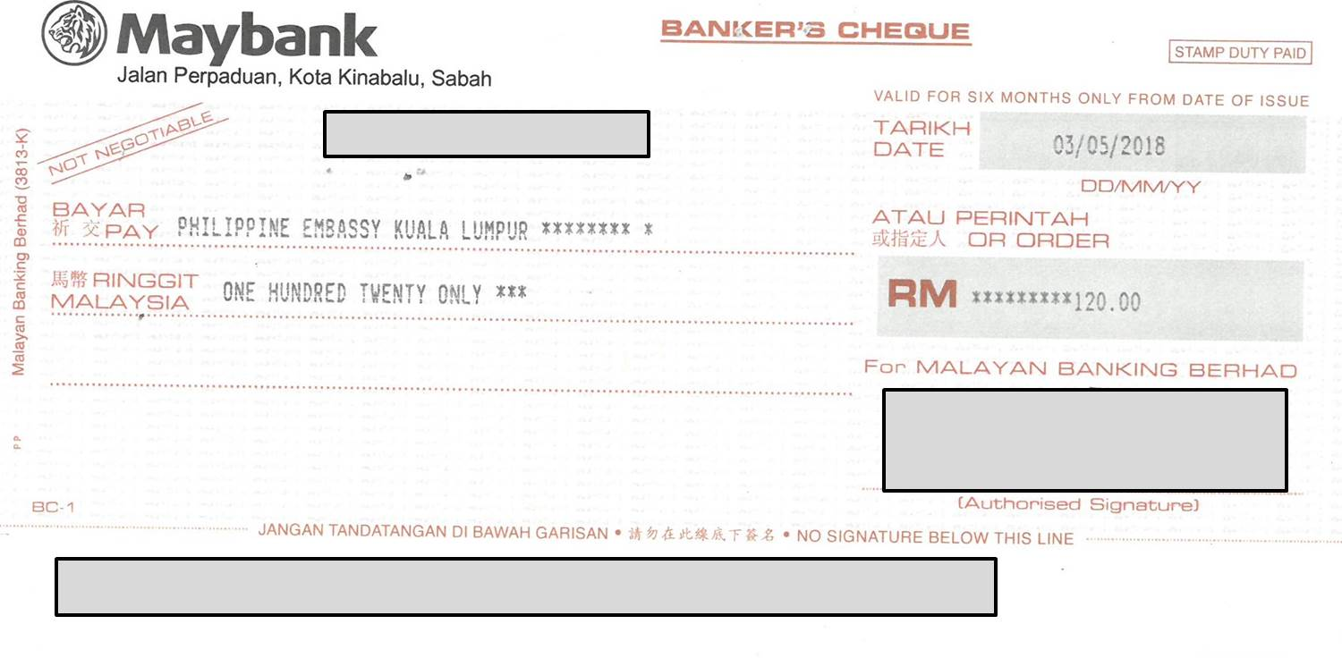 COURIER: Payment through courier should be by bank draft payable to  Philippine Embassy Kuala Lumpur ...